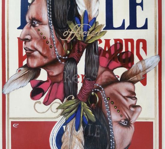 Chris Pappan, The Indian According to Hoyle 2, acrylic and gold leaf on wood panel, 2014